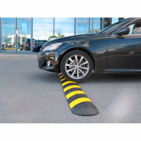 100% Recycled Rubber 6' Speed Bump, Black w/ Yellow Reflective