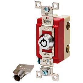 Bryant 4902RKL Barrel Key Switch, Double Pole, 20A, 120/277V AC, Rotary Locking