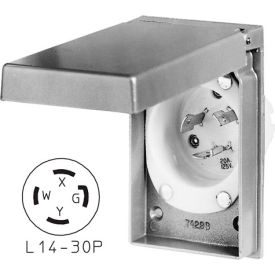 Bryant 71430MBWP Weather Protective Power Inlets, L14-30, 30A, 125/250V, Aluminum