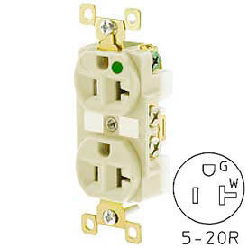 Bryant BRY8300I TECHSPEC® Hospital Grade Duplex Receptacle, 20A, 125V, Ivory, Self Ground