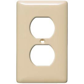 Bryant Npj8i Duplex Plate, 1-Gang, Mid-Size, Ivory Nylon - Pkg Qty 25