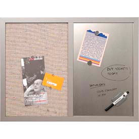 """MasterVision™ Combo Silver Dry Erase & Grey Fabric Bulletin Board 24"""" x 18"""", Grey Frame- Pkg Qty 1"""