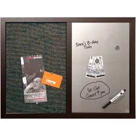 "MasterVision™ Combo Silver Dry Erase & Black Fabric Bulletin Board 24"" x 18"", Black Frame"