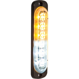 Buyers LED Rectangular Amber/Clear Low Profile Strobe Light 12V - 6 LEDs - 8891912