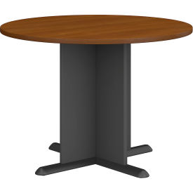 "Bush Business Furniture Series A &amp C 42"" Round Conference Table - Warm Oak"