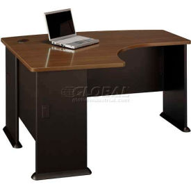 """Bush Furniture 60"""" Left Hand Desk with Bow Front - Walnut - Series A"""