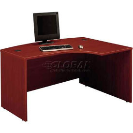 Bush Furniture Right Hand Wood Desk with Bow Front - Mahogany - Series C