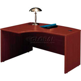 Bush Furniture Left Hand Wood Desk with Bow Front - Mahogany - Series C