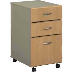 Bush Furniture Three Drawer File (Assembled) - Light Oak - Series A