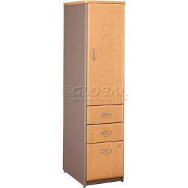 Bush Furniture Vertical Locker with File Cabinet (Unassembled) - Light Oak - Series A