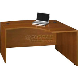 Bush Furniture Right Hand Wood Desk with Bow Front - Warm Oak - Series C