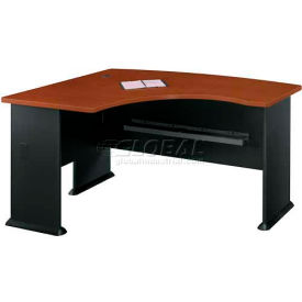 """Bush Furniture Left Hand Wood Desk with Bow Front - 60"""" - Hansen Cherry - Series A"""