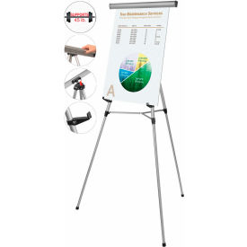 "MasterVision 3-Leg Heavy-Duty Telescoping Display Easel, Silver 69""W- Pkg Qty 1"