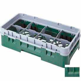 "Cambro 8HS434119 - Camrack  Glass Rack 8 Compartments 5-1/4"" Max. Height Sherwood Green - Pkg Qty 4"