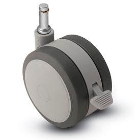 Shepherd® Grip Ring Stem Soft Tread Caster with Brake - 125mm Dia. 7/16 x 1-7/16 Stem Gray