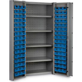 "Bin Cabinet Deep Door with 96 Blue Bins, 16 Ga. All-Welded Cabinet 36""W x 24""D x 72""H, Gray"