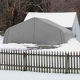 House Style Two Car Garage 22'W x 11'H x 20'L - Silver/White