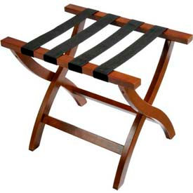Premier Curved Wood Flat Top Luggage Rack, Walnut, Black Straps, 1 Pack
