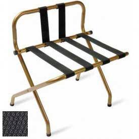 Luxury High Back Black Luggage Rack w/ Back Strap, Black Straps, 1 Pack