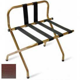 Luxury High Back Walnut Luggage Rack w/ Back Strap, Black Straps, 6 Pack - Pkg Qty 6