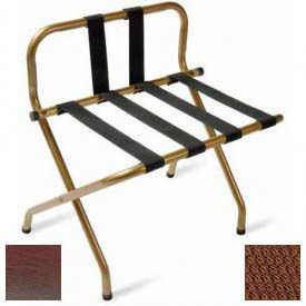Luxury High Back Walnut Luggage Rack w/ Back Strap, Brown Straps, 1 Pack
