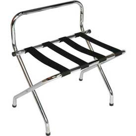 High Back Chrome Luggage Rack with Black Straps, 1 Pack