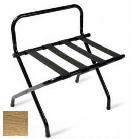 High Back Antique Inca Gold Luggage Rack with Black Straps, 1 Pack