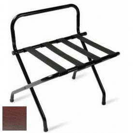 High Back Walnut Luggage Rack with Black Straps, 1 Pack
