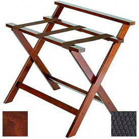 Deluxe High Back Wood Luggage Rack, Cherry Mahogany, Black Straps 1 Pack