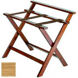 Deluxe High Back Wood Luggage Rack, Light Oak, Brown Straps 1 Pack