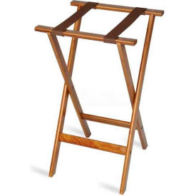 "Flat Wood Tray Stand, 18-1/2"" x 17"" Top x 30"" High, 2-1/4"" Brown Straps, Natural Finish (4 Per Case)"