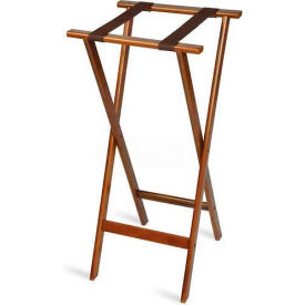 Tray Stand, Extra Tall, Wood, Bottom Strap only, Brown Straps, (Single Pack)