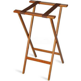 Economy Tray Stand, Brown Straps, Wood, Dark Walnut Stain Finish, (Single Pack)
