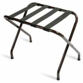 Flat Top Walnut Luggage Rack with Black Straps, 1 Pack- Pkg Qty 1