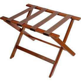 Deluxe Flat Top Wood Luggage Rack, Dark Oak, Brown Straps 1 Pack
