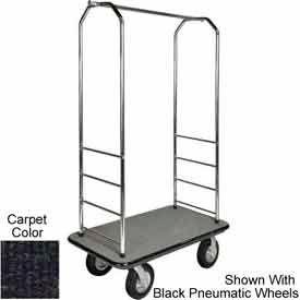 "Easy Mover Bellman Cart Chrome, Black Carpet, Black Bumper, 5"" Gray Poly"