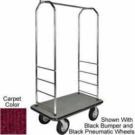 "Easy Mover Bellman Cart Chrome, Red Carpet, Gray Bumper, 8"" Poly"