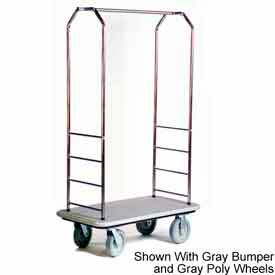 "Easy Mover Bellman Cart Stainless Steel, Gray Carpet, Black Bumper, 8"" Gray"