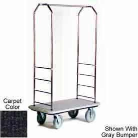 "Easy Mover Bellman Cart Stainless, Black Carpet, Black Bumper, 8"" Gray Poly"