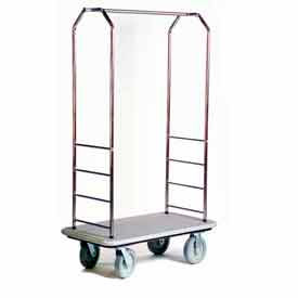 "Easy Mover Bellman Cart Stainless Steel, Gray Carpet, Gray Bumper, 8"" Gray"