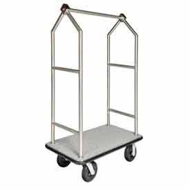 "CSL HD Angled Bellman Cart Stainless, Gray Carpet, Black Bumper, 8"" Black Pneumatic"