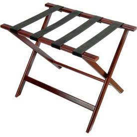 Economy Flat Top Wood Luggage Rack, Cherry Mahogany, Black Straps 1 Pack