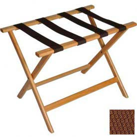 Economy Flat Top Wood Luggage Rack, Light Oak, Brown Straps 1 Pack