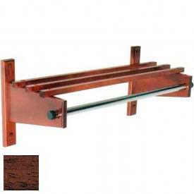"24"" Wood Coat Rack with Wood Top Bars & 1"" Hanging Rod, Mahogany"