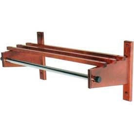 "48"" Wood Coat Rack with Wood Top Bars & 1"" Hanging Rod, Cherry Mahogany"