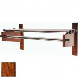 "48"" Wood Coat Rack with Metal Top Bars and 1"" Hanging Rod - Dark Oak"