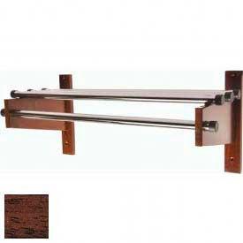 "48"" Wood Coat Rack with Metal Top Bars and 1"" Hanging Rod - Mahogany"