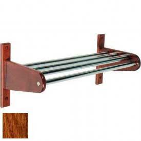 """24"""" Wood Coat Rack w/ Metal Interior Top Bars and 1"""" Hanging Rod - Dark Oak"""