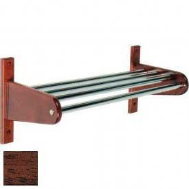 "24"" Wood Coat Rack w/ Metal Interior Top Bars and 1"" Hanging Rod - Mahogany"