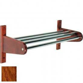 """36"""" Wood Coat Rack w/ Metal Interior Top Bars and 1"""" Hanging Rod - Dark Oak"""